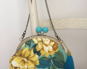 Handmade vintage inspired blue and yellow floral barkcloth evening bag
