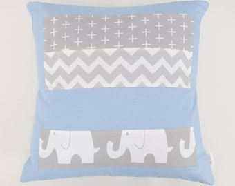 Blue and Grey Elephant patchwork cushion cover for Nursery or Lounge