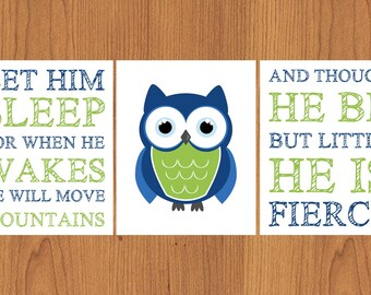 Let Him Sleep For When He Wakes And Though He Be But Little He Is Fierce Nursery Wall Art Lime Green Navy Blue Owl set of 3 (179)