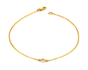 14k yellow gold bezel set diamond bracelet