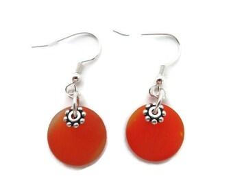 Orange Dangle Earrings, Bright Orange Earrings, Orange Beach Glass Earrings, Orange Sea Glass Earring, Tangerine Earring, Recycled Glass