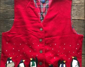 Vintage Christmas Vest - Vintage Ugly Christmas Sweater - Christmas Penguin Vest - Ugly Christmas Vest - Christmas Party Sweater Vest