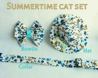 Cat Hat 'Summertime' - Floral Bow tie and Cat Collar - Cute floral summer set for cat