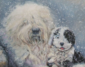 Old English Sheepdog dog art CANVAS print of LA Shepard painting 11x14
