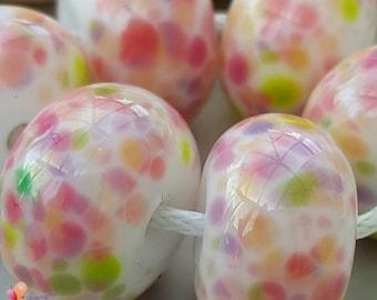 Lampwork Beads Handmade, Small Beads, Cherry Blossom Fritties