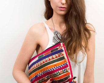 Banjara Clutch Bag,Vintage Indian Bag,Bohemian,Colorful Summer Bag,Zip Closure, Pom Pom Bag