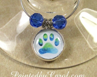 Paw Print Wine Charms, Paw Print Table Decor, Paw Print Home Decor, Paw Print Party Decor, Paw Print Party Gift, Dog Lover Gift, Pet Lover