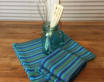 Wide Table Runner Blue Stripe Cotton Twill with Side Board Runner Set, Easter Gift, Natural Fringe, Vintage Fabric, Zero Waste, Upcycled