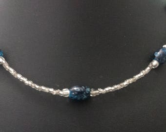Handmade silver seed bead and blue glass single strand necklace, minimalist, elegant, classic, gifts for her, everyday jewelry