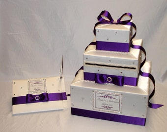 White and Eggplant Purple Wedding card Box and matching Guest Book with Pen