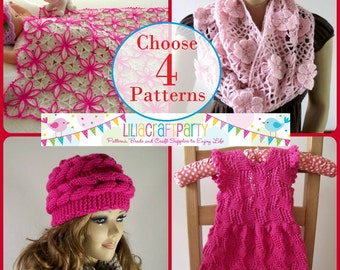PATTERN DISCOUNT Knitting and Crochet - CHOOSE 4 - Your choice of 4 patterns Instant Download Step by Step instructions