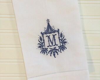 Monogrammed Pagoda Towel Tea Towel Linen Guest Towel Linen Hand Towel