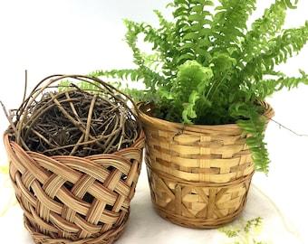 Vintage Small Boho Woven Rattan Bamboo Basket Planters, Set of 2