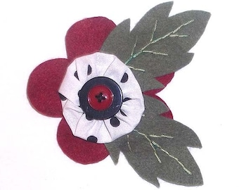 Handmade Felt Flower Pin Brooch With Yo Yo Center and Buttons in Bordeaux Red, Moss Green and Polka Dots FP7