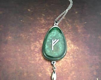 Fehu rune. Runes jewelry.Runes amulet. Viking Rune Necklace. Rune Pendant. Norse Jewelry. Pewter Necklace. Fehu - Money, pleasure