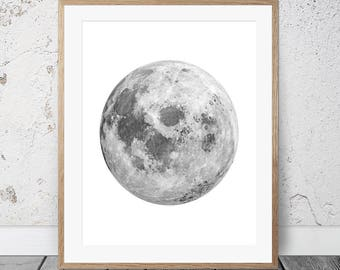 Moon Print, Black and White Moon, La Lune, Astronomy Print, Moon Wall Art, Moon Photography, Moon, Prints, Wall Art, Gift For Him, Full Moon