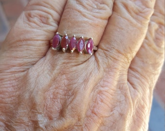 ruby ring size 8 1950's 1.25ct genuine natural UNHEATED UNTREATED ruby MARQUISE wedding or right hand estate vintage sterling ring