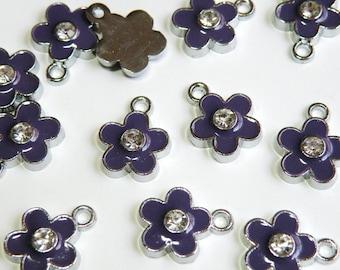 10 Cute Purple enamel flower charm with rhinestone center silver finish 16x12mm DB22019P