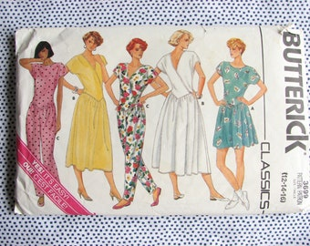 1980s jumpsuit pattern, Vintage sewing pattern Butterick 3699, Sizes 12, 14, 16 - For knits only
