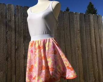 Skirt with a pocket! Womens plus size orange and pink floral circle skirt // vintage fabric, size L-2XL, handmade // sacral chakra healing