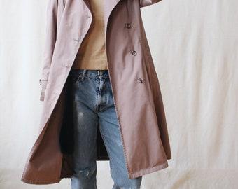 Vintage 1970s dusty rose trench coat | 1980s London Fog small medium lined raincoat | All-weather long cinch-waist jacket | Minimalist style