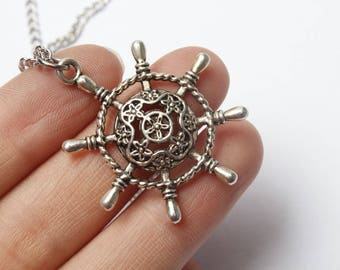 Ships Wheel Necklace, Rudder Pendant, Nautical Jewelry, Boating Jewelry, Helm Charm Pendant, Ocean Necklace, Beach Jewelry, Antique Silver