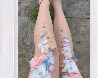 Pastel Flowery Fishnets