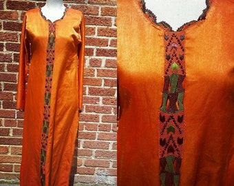 Vintage 70s Style Satin Maxi Dress // Boho Beaded Woven Detail