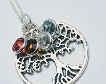 Family tree necklace, grandmothers necklace, mother's necklace, round family tree necklace, birthstone necklace, sterling silver necklace