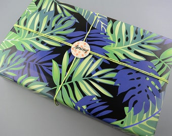 Leaves Wrapping Paper,Birthday Gift Wrap,Tropical Plants Wrapping Sheets,Holiday Gift Wrap,Craft Paper