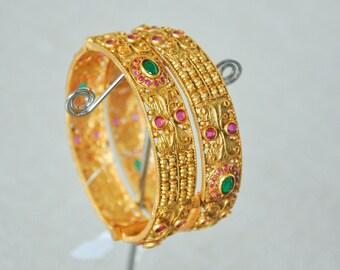 DHIVYA BANGLES | Indian jewelry | Temple kundan gold jewelry | Bangles