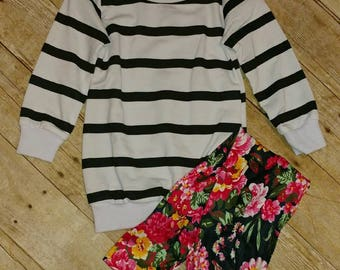 Striped Sweater and Floral Leggings Set