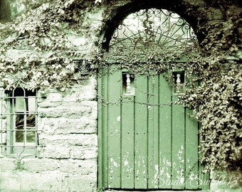"Door Photography, Door Art, Green Door Print, Architectural Art, Rustic Home and Garden Art, St Augustine Farmhouse- ""The Green Door"""