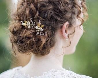 Gold Bridal hair pin, Pearl Hair pin, Crystal hair Pin, Heirloom, Vintage  Style wedding - Style HP03