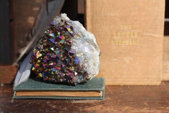 Titanium Aura Amethyst Druzy Cluster, Rainbow Titanium Crystal Cluster, Flame Amethyst Aura Cluster, Standing Aura Quartz, Crystal Gifts