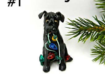 Schnauzer Christmas Ornament Figurine Black Lights Porcelain