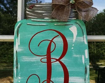 "12"" Mason Jar wood door hanger monogramed, personalized rustic burlap country farmhouse season"