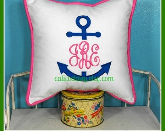Anchor Monogram Embroidered Pillow Cover  - 14 x 14