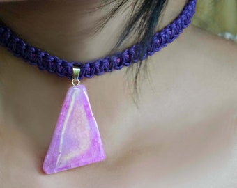 Violet Macrame Stone Necklace, Violet Choker, Pink Stone Necklace, Teens Necklace