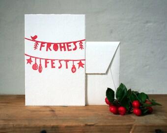 Weihnachtskarte - Frohes Fest - handgedruckt - 10x15cm/A6 // Weihnachtsgruß, Festtage, Girlande