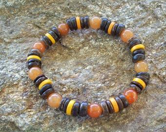 Mens bracelet, wood Bracelet, Aventurine, Man bracelet, Men Bracelet, Beach bracelet, Gift for him, Orange bracelet, beach jewelry, Boho men