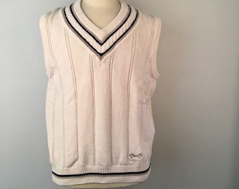 Ivory White and navy blue mens sweater Vest Large cotton Eagle Golf knit pullover V neck 90s vintage