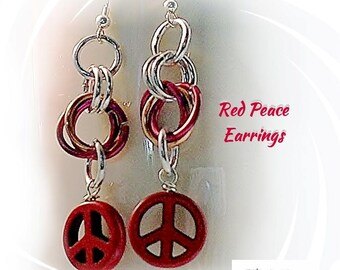 Peace Sign Earrings, Red Peace Earrings, Sterling Silver Ear Wire, Chainmaille Earrings - E2017-07
