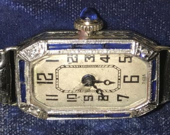 1920's ART DECO~ Working, Zador 18K case on ladies watch w. Diamonds & Sapphires~ 12K gold filled band