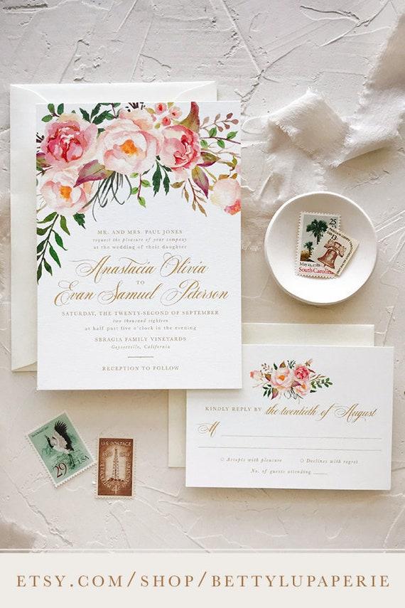 Blush Floral Wedding Invitation Boho Chic Wedding Invites