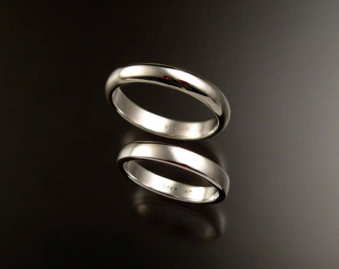Sterling Silver Half Round Wedding bands His and Hers two ring set made in your size