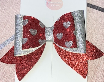 Red and silver heart french bow, glitter bow, girls hair bow, big bow