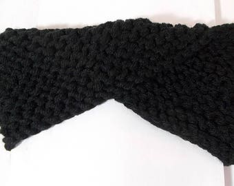 Black cross wool acrylic material headband