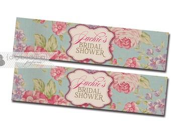 """Drink Labels Printable Water Bottle Labels Bridal Shower DIY Drink Bottle Labels 8x2"""" Vintage Rose Floral - Jackie Collection"""