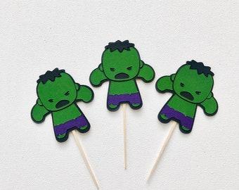 Hulk Cupcake Toppers - set of 12